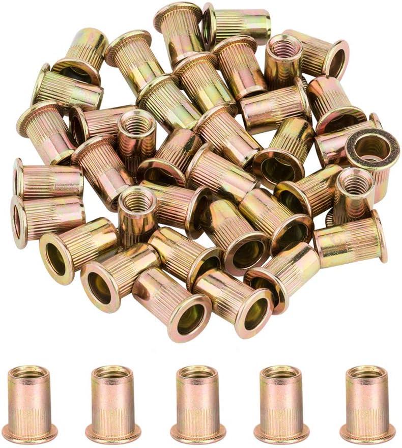 YANWOO 50pcs 1//4-20 UNC Carbon Steel Flat Head Rivet Nuts Threaded Insert Nut