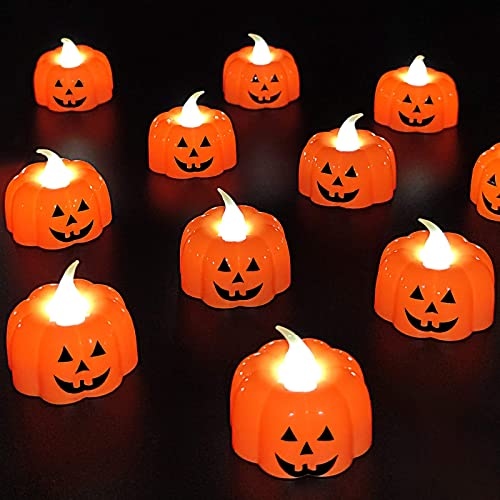 24Pcs 3D Pumpkin Flameless Candles Realistic Led Tea Light Warm White Flickering Ghost Face Candles Fall Halloween Thanksgivings Decorations