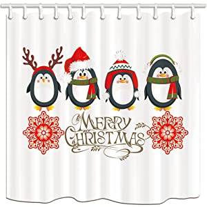 NYMB 3D Digital Printing Kids Decor, Cute Penguins with Christmas for New Year Shower Curtains, Polyester Fabric Waterproof Bath Curtain, 69X70in, Shower Curtain Hooks Included