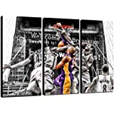 QJQ 3 Pieces of Ko-be Bryant Wall Art Canvas Basketball Wall Poster Sports Athletes Commemorate Fans Gris Prints Artwork Deco