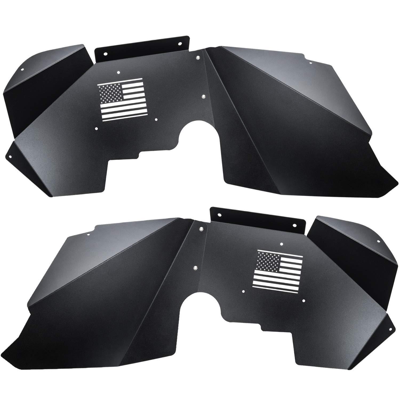 Yoursme Front Inner Fender Liners Flares for 2007-2018 Jeep Wrangler JK 4WD /& 2WD US Flag Logo Black Lightweight Aluminum