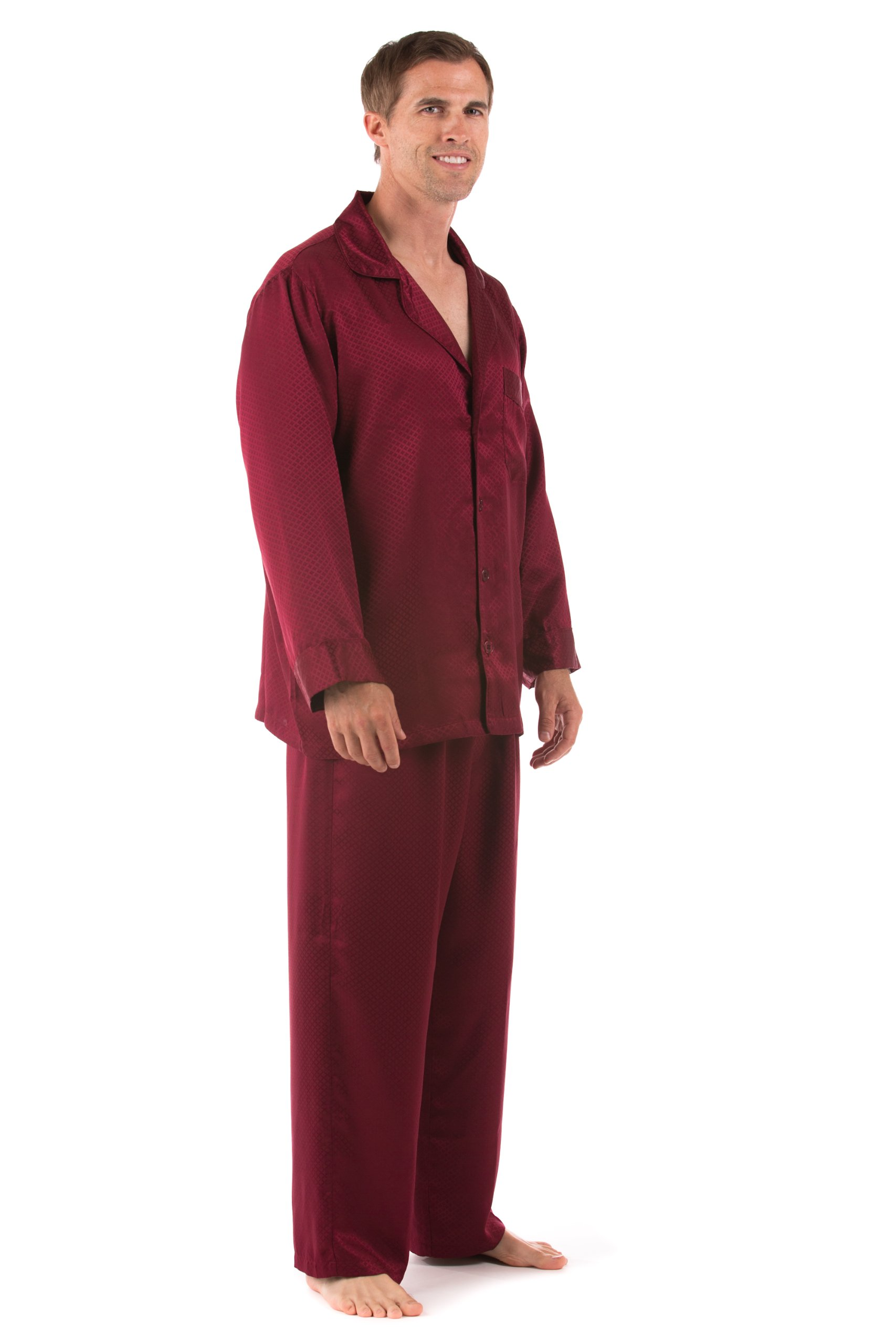 TexereSilk Men's Luxury Silk Sleepwear Set (Burgundy, Large) Father's Day Presents MS0003-BRG-L