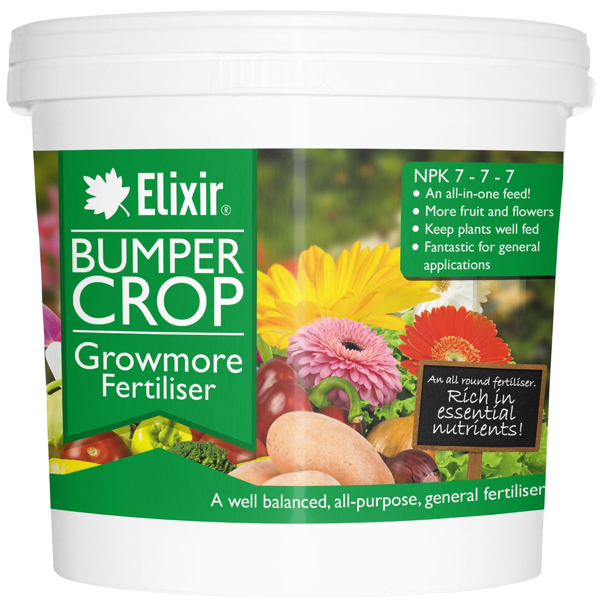Elixir Gardens Bumper Crop Growmore Fertiliser | 1kg, Supplied in Polythene Bag Elixir Gardens ®