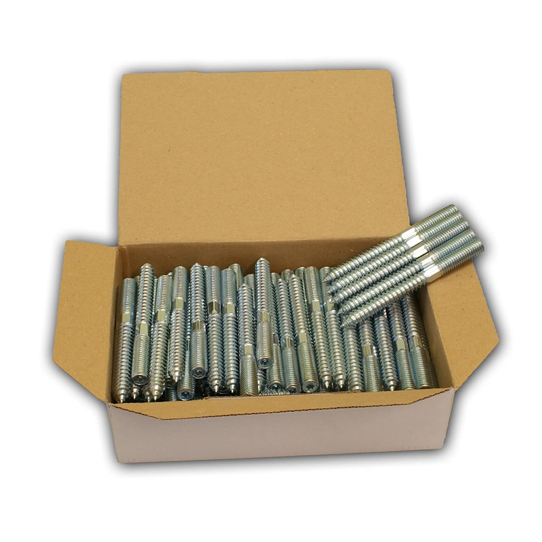 Stabilo-Sanitaer 100x Stockschrauben M8 x 50 mm Schraubstifte Gewindestifte verzinkt Doppelgewindeschrauben Rohrschellen Befestigungsmaterial Montagematerial