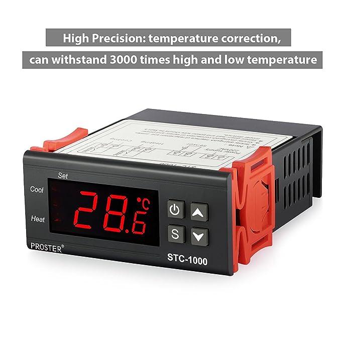 Termostato STC-1000, Proster 220V Digital Display LCD Sensor Controlador de Temperatura Termostato para Todo Uso en el Acuario de la Aprobación CE: ...