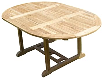 Teck\'Line MJETASAWP Sawah Table de Jardin Ronde/Ovale en Teck Beige ...