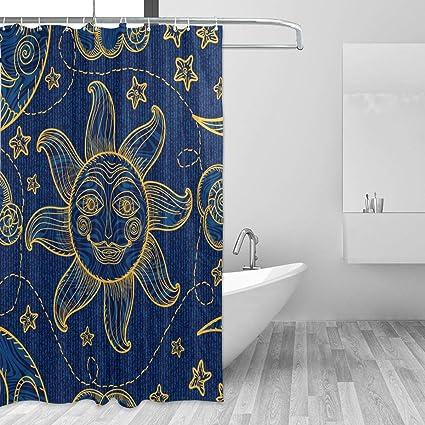 TropicalLife Shower Curtain Bohemian Style Vintage Sun Star Theme Waterproof Polyester Fabric Bathroom Set Home Modern