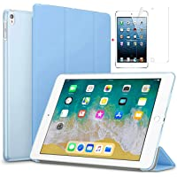 for Apple iPad Air 2/iPad 6 Ultra Slim Smart Case Folio with (Translucent Back) Stand Flip Cover case Free with Glossy Screen Guard for for Apple iPad Air 2/iPad 6 Model (Sky Blue)