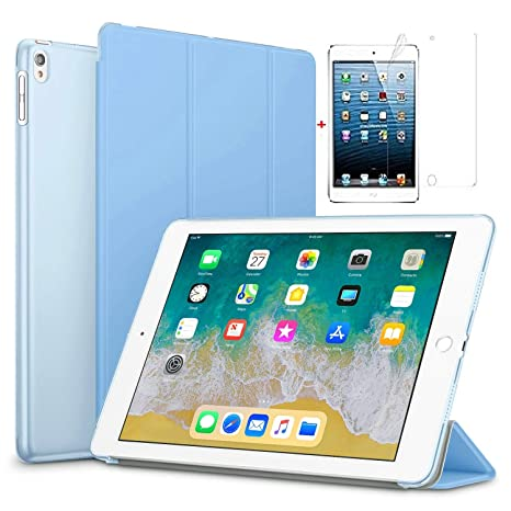Go Crazzy Lightweight with Stand and Auto Wake/SleepTranslucent Back Flip Smart Cover for  Apple iPad Air 2 / iPad 6, with Glossy Screen Guard  Sky Bl