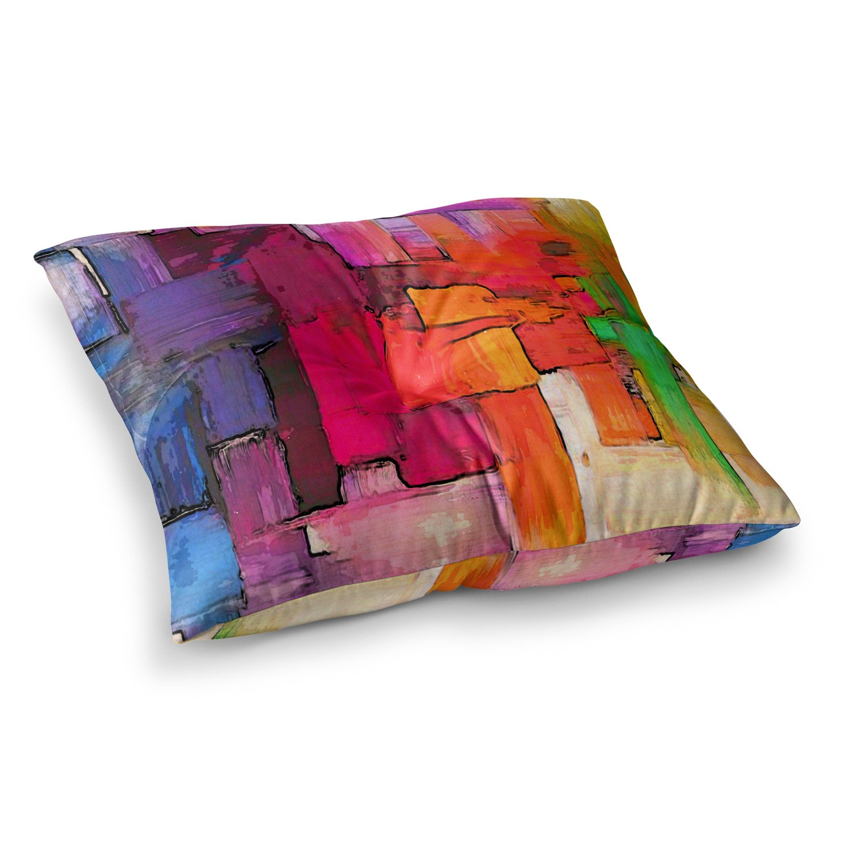 26 x 26 Square Floor Pillow Kess InHouse Oriana Cordero Interlace Pink Orange