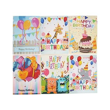 Broadroot 6pcs Cartoon Tarjetas de felicitación DIY Diamante Painting Pintura Bordado cumpleaños Tarjeta Postal Regalo artesanía