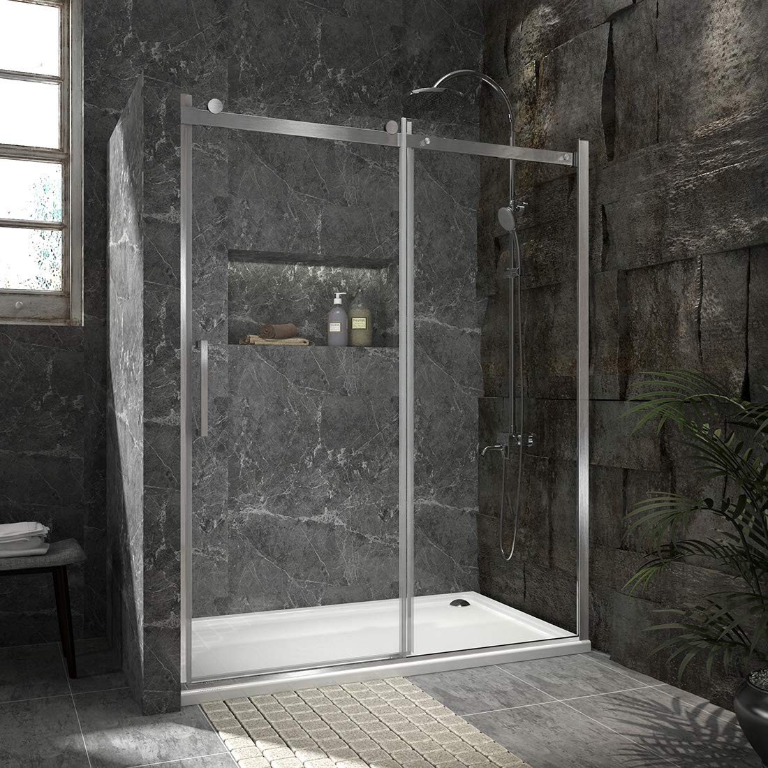 Duschdeluxe 60 x72 Frameless Sliding Shower Door 1 3 Clear Tempered Glass Shower Enclosure Fixed Sliding Door – Brushed Nickel Finish