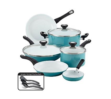 Farberware Purecook Ceramic Nonstick Cookware 12 Piece Cookware Set Aqua