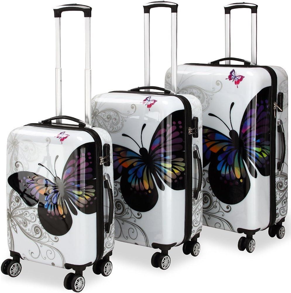 Monzana Juego de Maletas Butterfly Equipaje de Viaje de 42L 66L 98L Set de 3 valijas Conjunto con o sin maletín de Aseo