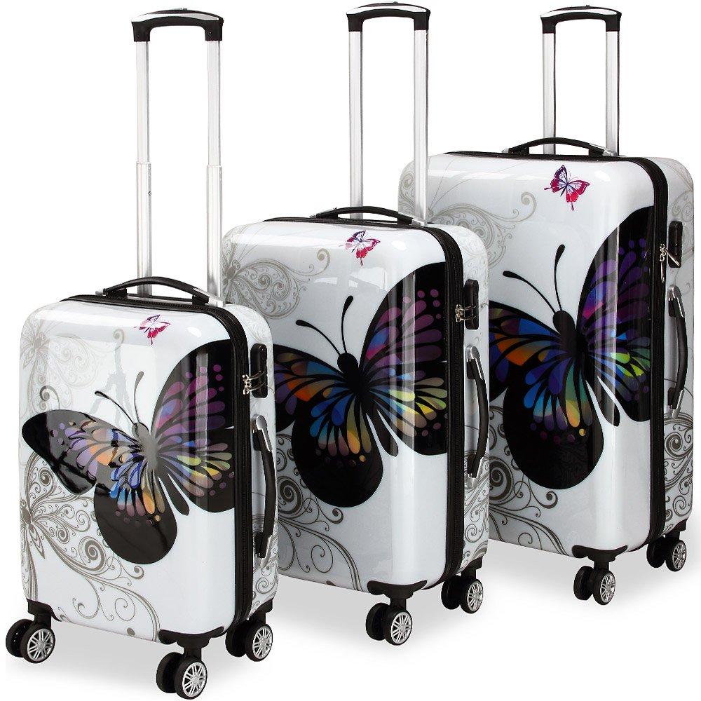 Lot 3 valises M, L, XL Butterfly rigides renforcées set de voyage avec verrou - roulettes 360° 104007