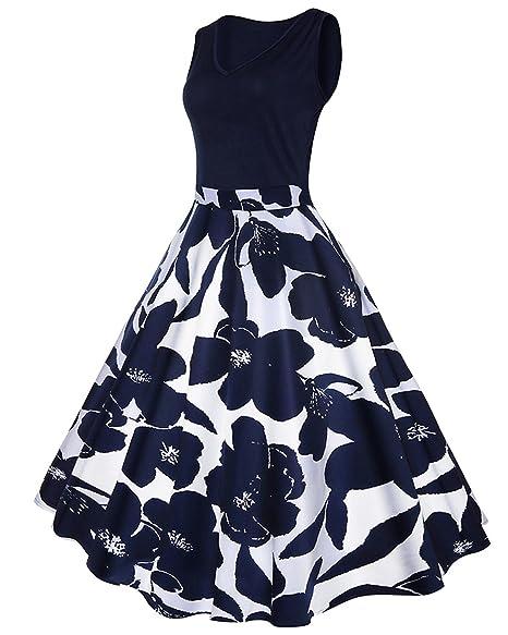 e92ff9040ef53 ZAFUL Mujer Vintage Vestido Vestido sin Mangas V-Cuello Impresión Floral  Vestidos de Fiesta S
