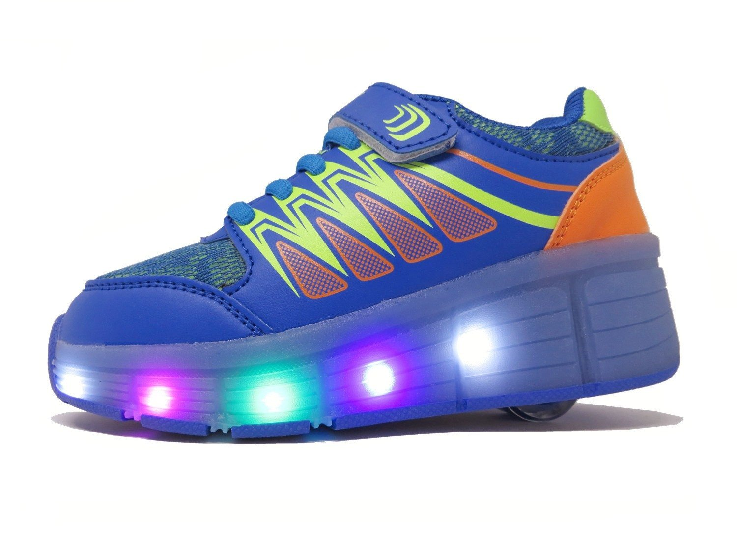 JOMIGLI PU Rechargeable Light Up Flashing Wheeled Heel Skate Shoes LED Roller Sneakers by JOMIGLI