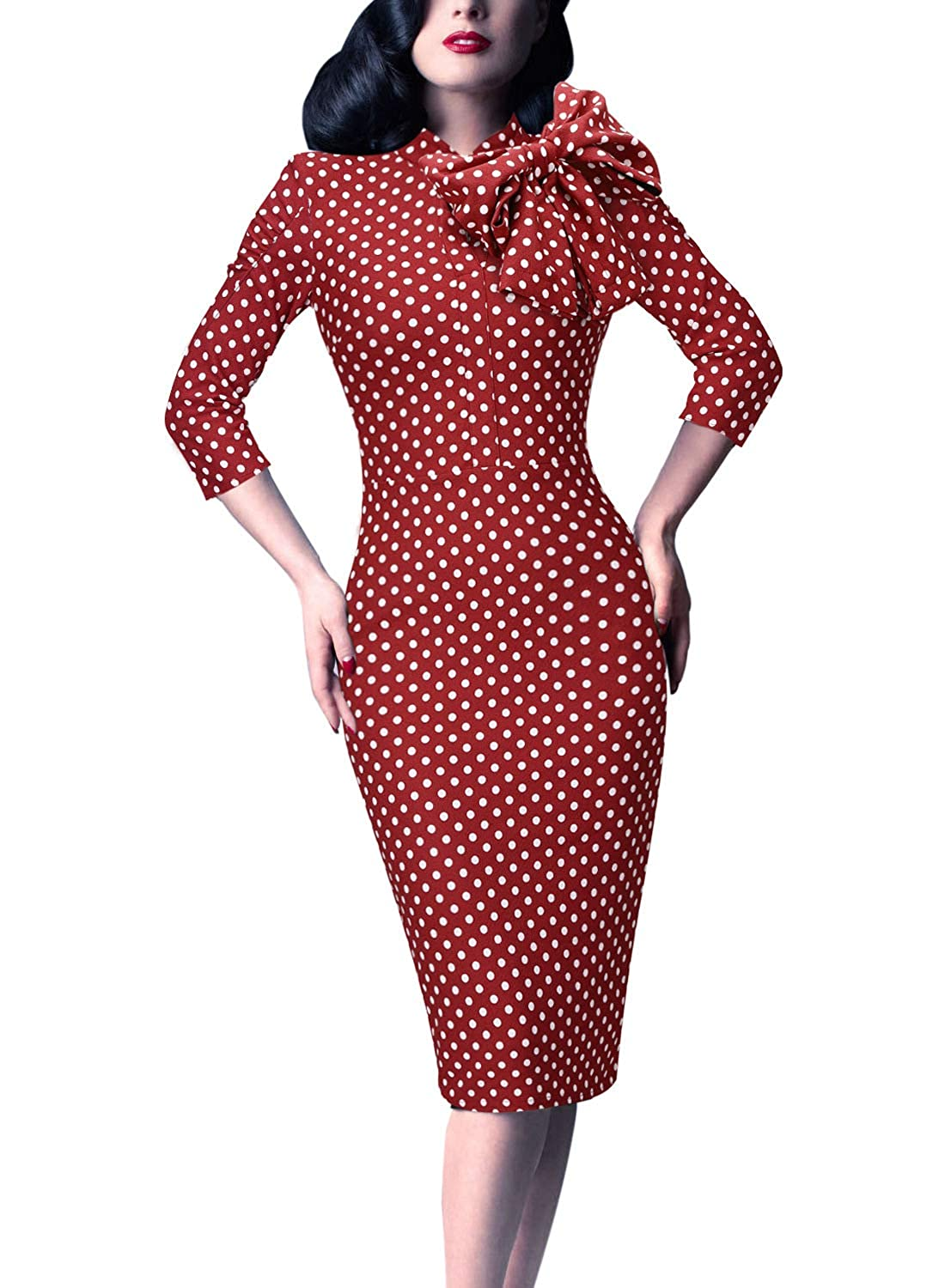 Red and White Polka Dot VfEmage Women's Celebrity Vintage Bowknot Party Cocktail Stretch Bodycon Dress