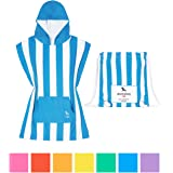 """Microfibre Kids Poncho with hood, Quick Dry Hooded Towels for Swim, Beach & Pool. Compact & Lightweight, packs into its own drawstring beach bag. Suits ages 3-7 (28"""" long) - Mini collection"""