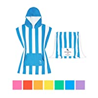 """Microfiber Kids Poncho with Hood, Quick Dry Hooded Towels for Swim, Beach & Pool. Compact & Lightweight, Packs into its own Draw String Beach Bag. Suits Ages 3-7 (28"""" Long) - Mini Collection"""