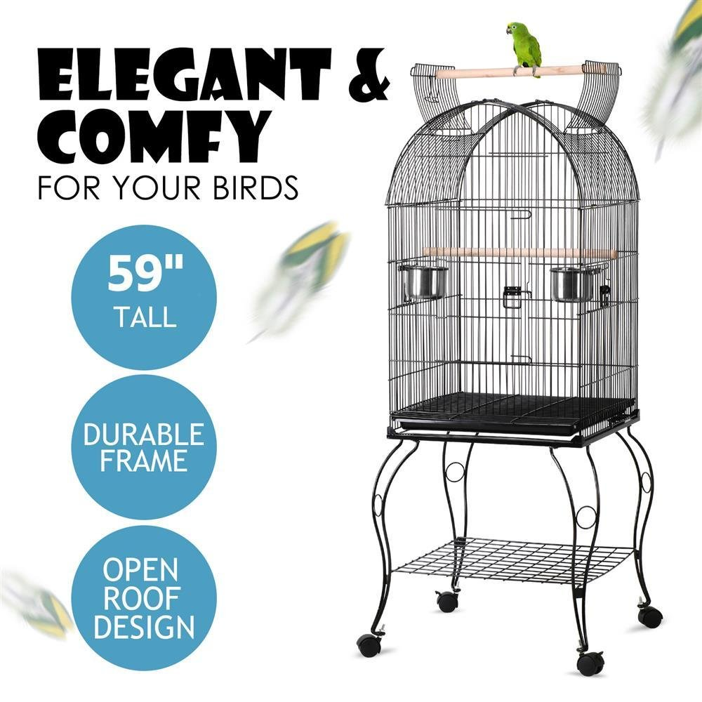 Topeakmart Medium Open Top Parrot Bird Cage for Cockatiels Conures Parakeets with Rolling Stand by Topeakmart