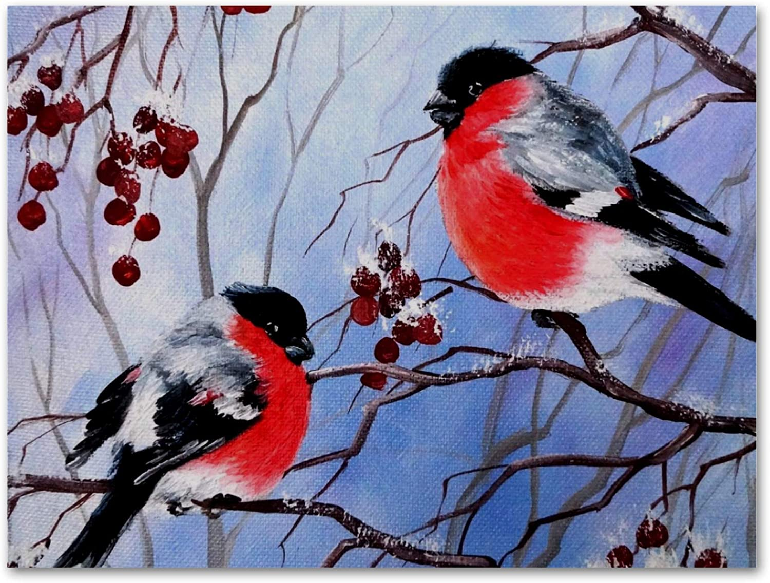 imobaby Oil Painting on Canvas Winter Bullfinch Birds Prints with Wooden Frame for Bedroom Home Living Room Office Modern Wall Art Decor, 11.8x19.6 in