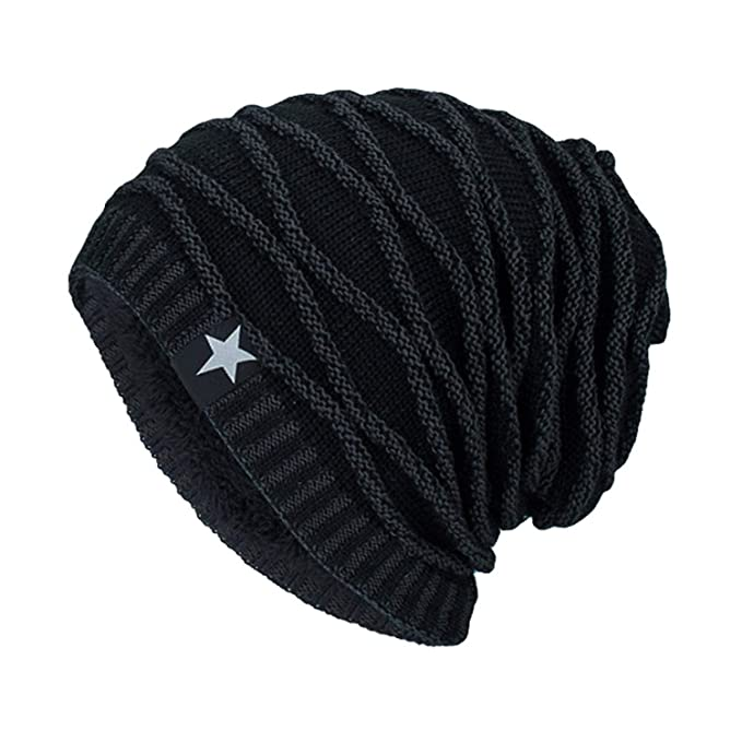 df1cf085bcbc3d Caps Men Women Beanie Star Winter caps Bonnet and Beanies forwarm Knit Hats  Unisex Baggy Winter Black at Amazon Men's Clothing store: