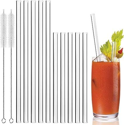 5 Courb/ées et 2 Brosses de Nettoyage MELLIEX Paille en Verre 21.5 cm x 10mm Transparentes pailles Reutilisable en Verre Salubre Lavable 5 Droites sans BPA