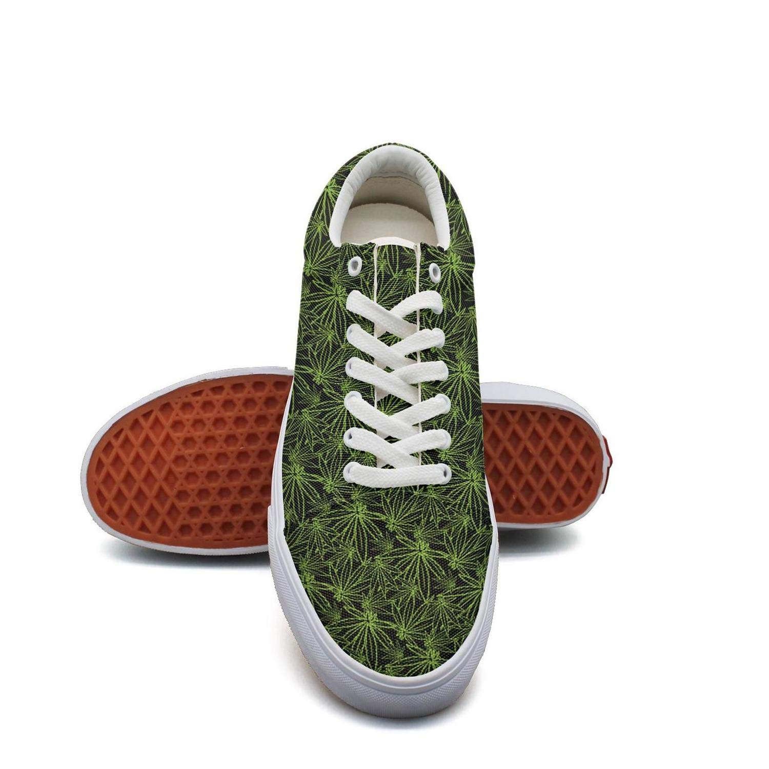 Opr7 Green Best Cannabis Women Lace-Up Skate Shoes Canvas Upper Sneaker Fashion