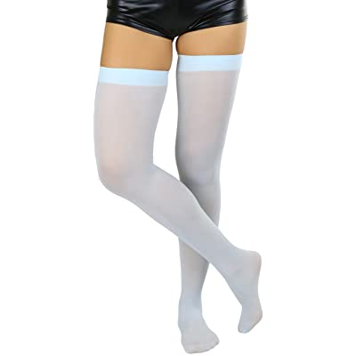 ToBeInStyle Women's Nylon Thigh High Schoolgirl Opaque Stockings (Baby Blue) at Women's Clothing store