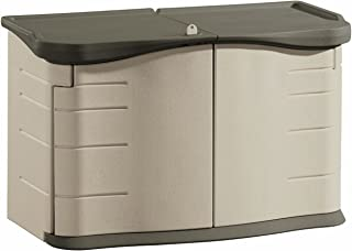 product image for Rubbermaid Split-Lid Resin Weather Resisrant Outdoor Garden Storage Shed, Olive and Sandstone