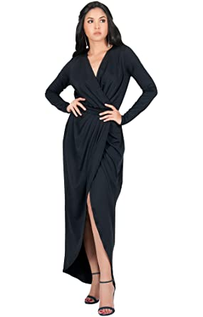 Koh Koh Womens Long Sleeve Formal Wrap Draped Cocktail V Neck Gown