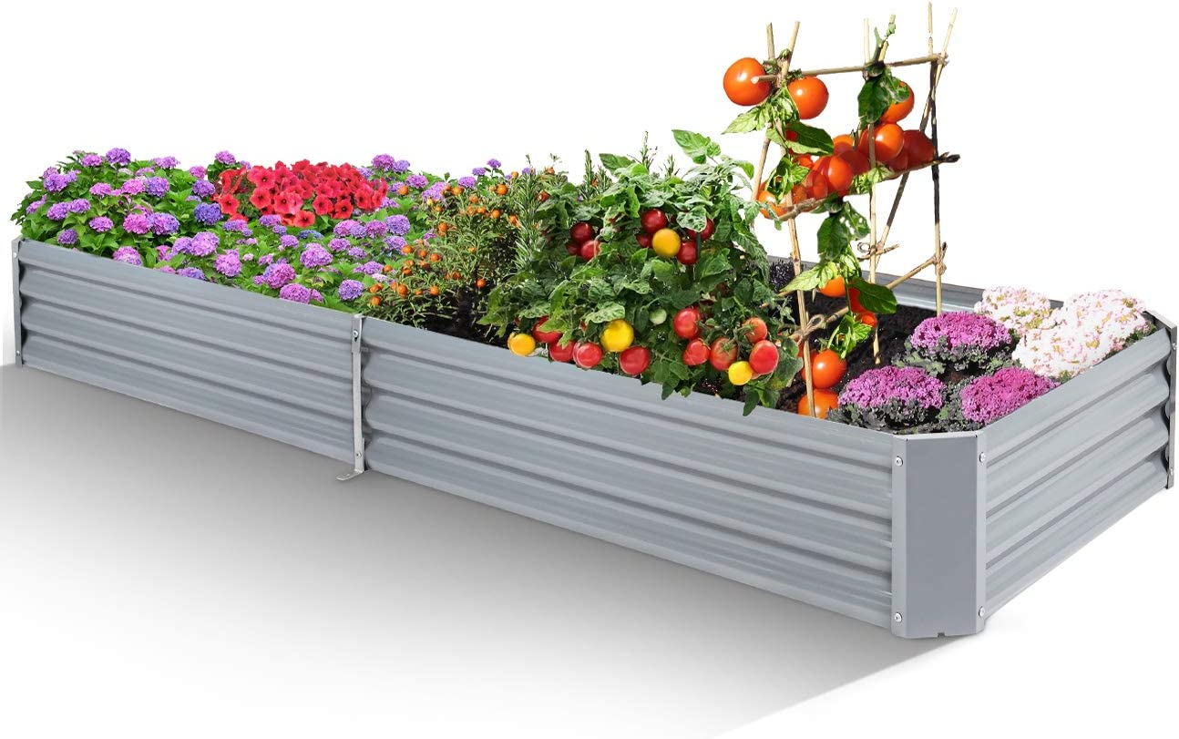 Galvanized Raised Garden Bed Metal Elevated Planter Box Kitfor Outdoor Vegetable Flower Herb Rectangular Steel Bottomless Frame Gardening Protection Patio Decoration (Gray, 8x3x1ft, 2packs)