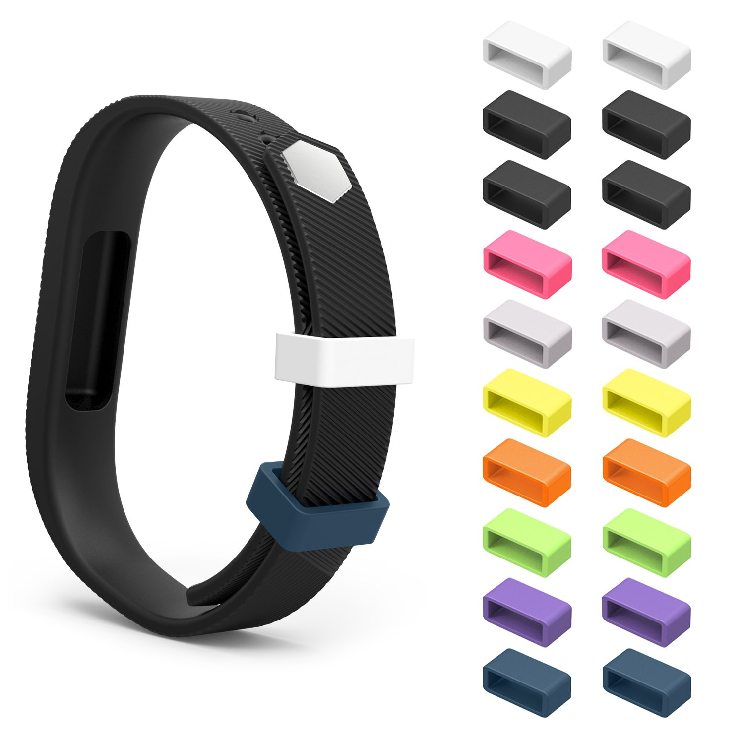 MoKo Fitbit Flex 2 Fastener Ring, [20 PCS] 9 Colours Replacement Silicone Secure Clasps ONLY for Fitbit Flex 2 Wristband, Fix the Tracker Fall Off Problem, Tracker and Wristband NOT Included 4332497076