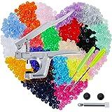 Anpro Pince + Pressions 400 PCS Boutons Pressions de T5-12mm ,Pression Kit de Pince Universel En Métal PourT3 T5 T8, Boutons en Plastique Multicolores 20 Couleurs