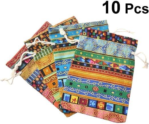 Bolsa de Regalo Monedero de joyería Estilo Bohemia Bolsita de algodón Bolso de Viaje de Caramelo 10 Piezas (Color Aleatorio): Amazon.es: Hogar