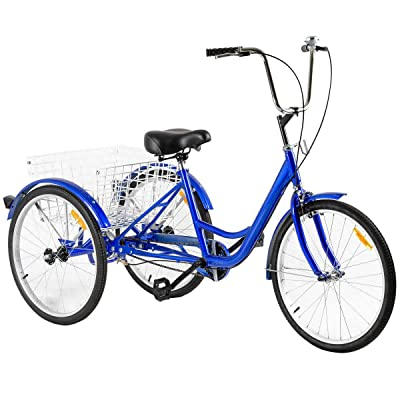 "3-Wheeled Adult Tricycle with Large Size Basket Basket 24"" Single Speed Seat Height Adjustable with Bell Exercise Bike for Recreation and Shopping: Sports & Outdoors"