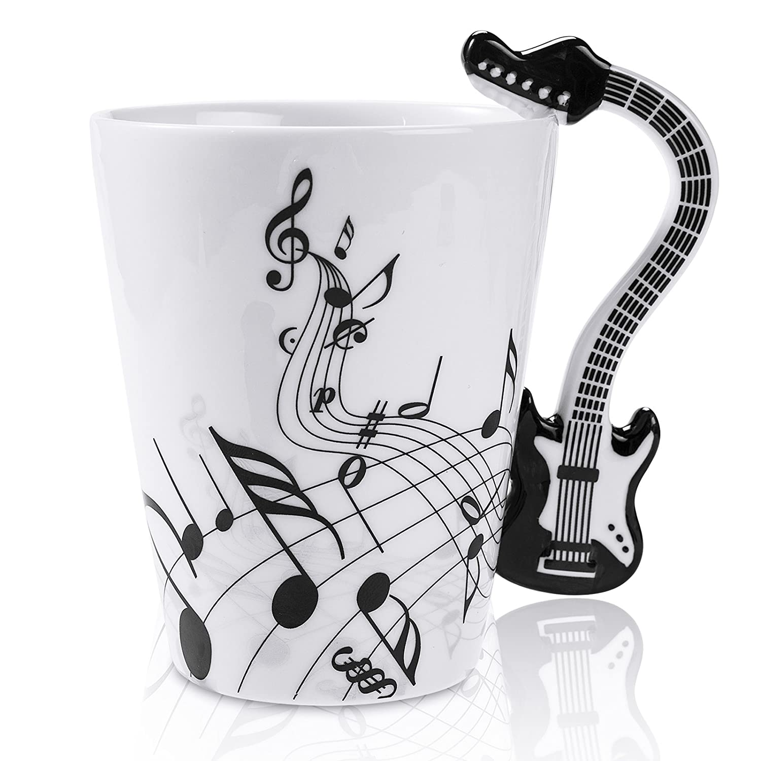 LanHong - 13.5 Ounce Guitar Mug Music Note Coffee Mug Ceramic Guitar Music Cup Mug Gifts for Guitar Players Musicians