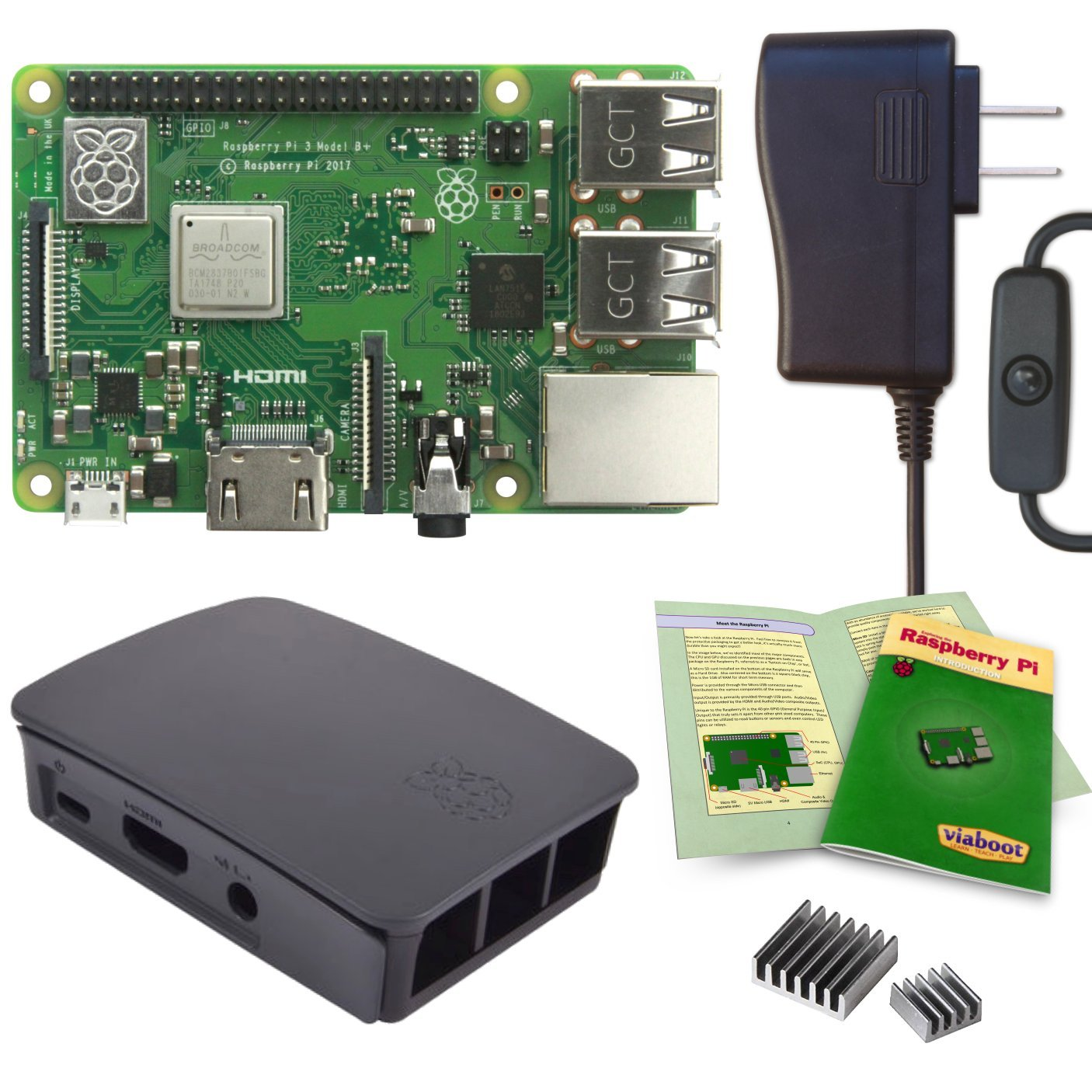 Viaboot Raspberry Pi 3 B+ Power Kit — UL Listed 2.5A Power Supply, Official Rasbperry Pi Foundation Black/Gray Case Edition