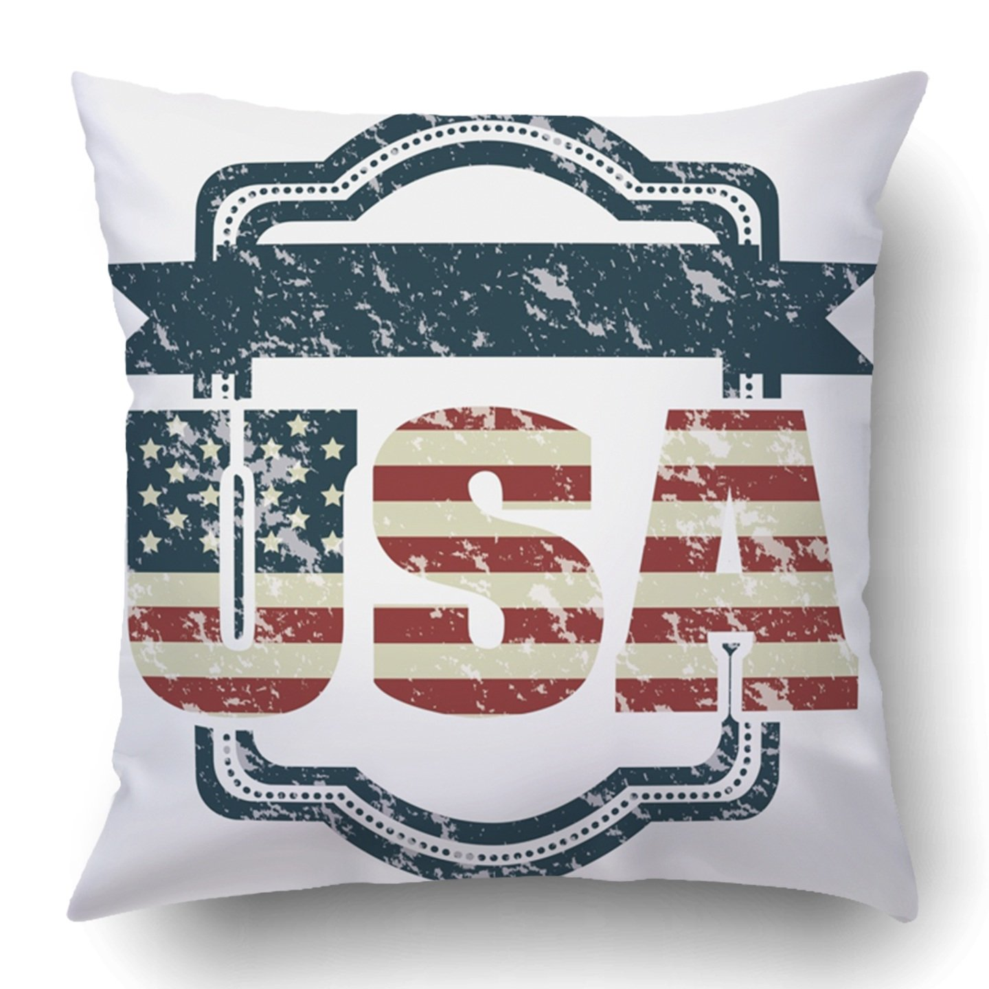 ff1fbe6b362 Emvency Throw Pillow Covers Blue Americana Patriot United States America Usa  Red Flag Rustic American American Flag Antique Polyester 18 X 18 Inch  Square ...