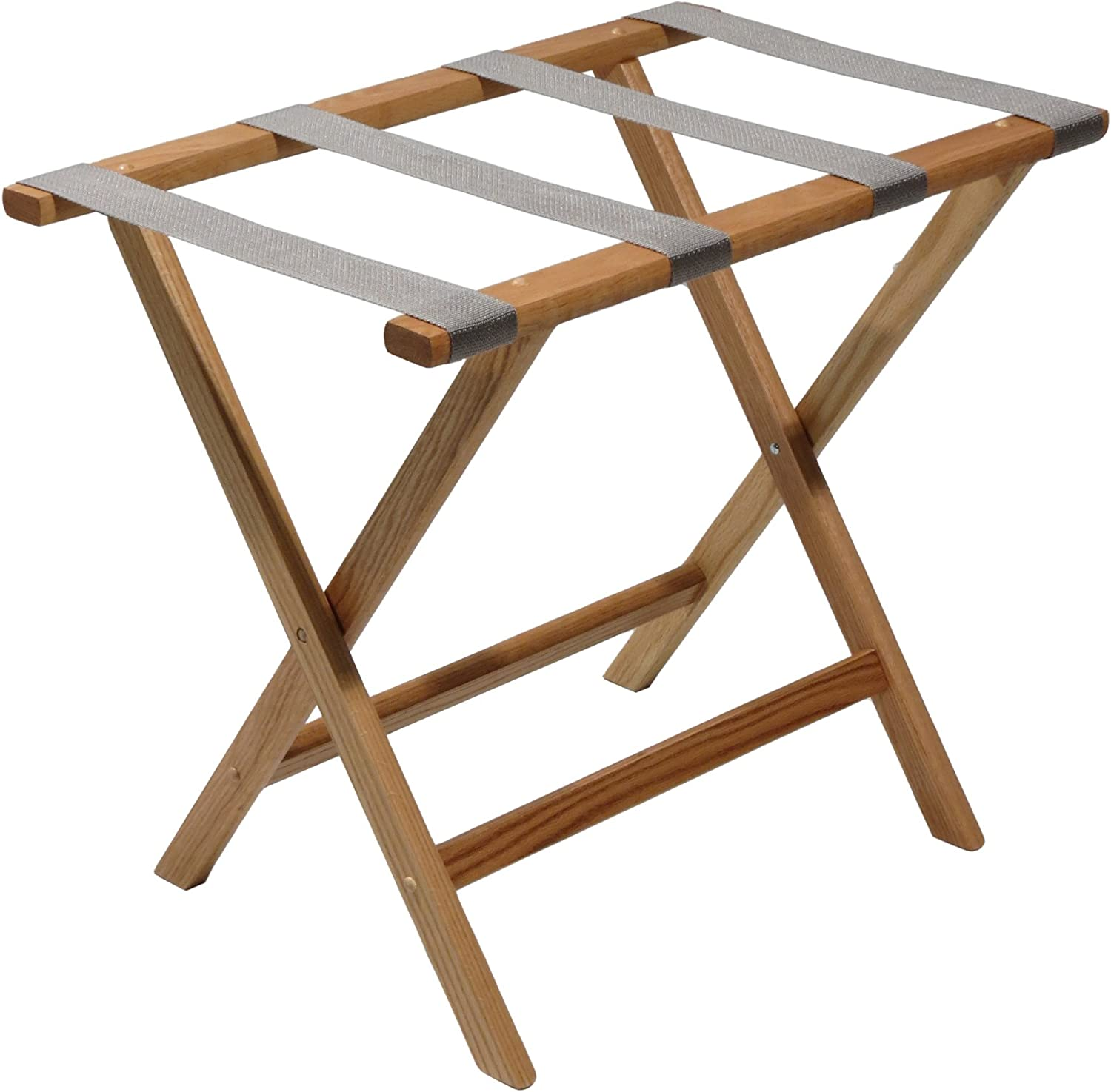 "Wooden Mallet Deluxe Straight Leg Luggage Rack,Grey Straps, 20"" H x 23.75"" W x 15.5"" D, Light Oak"