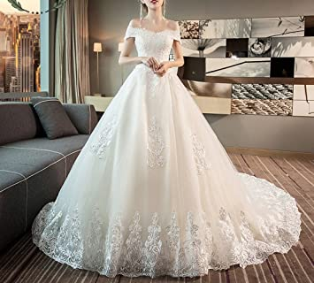 WLG Meili Vestido de Novia, Novia Cola Grande Que Adelgaza Palabra Hombro Princesa Qi Palacio
