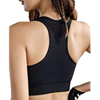 Larmuru Women Racerback Sports Bras High Support Wide Straps Padded Bra for Gym Yoga Workout Running