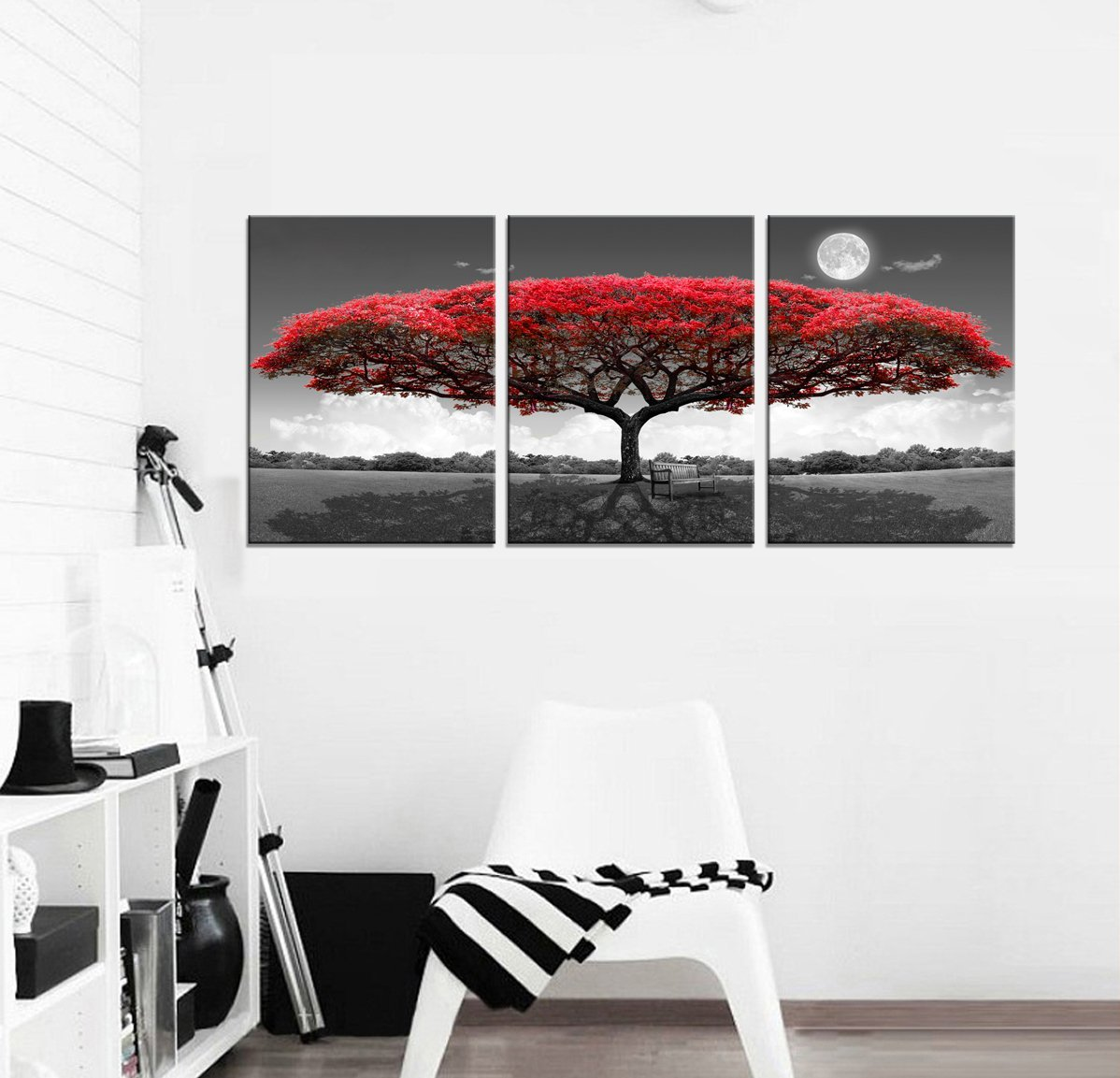 youkuart 3 Panel wall art red tree For Living Room Decor And Modern Home Decorations Photo Prints 12x16inchx3(Wood Framed) (12inchx16inchx3pcs, red tree)