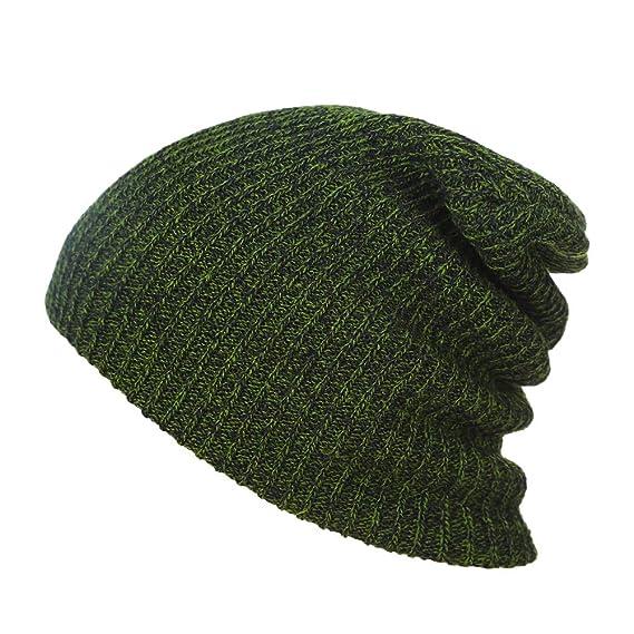 bc19c493cb930 Unisex Slouchy Winter Hat Knitted Beanie Cap Soft Warm Ski Hat Hip-Pop Beanie  Cap for Men and Women (Dark Green)  Amazon.in  Clothing   Accessories