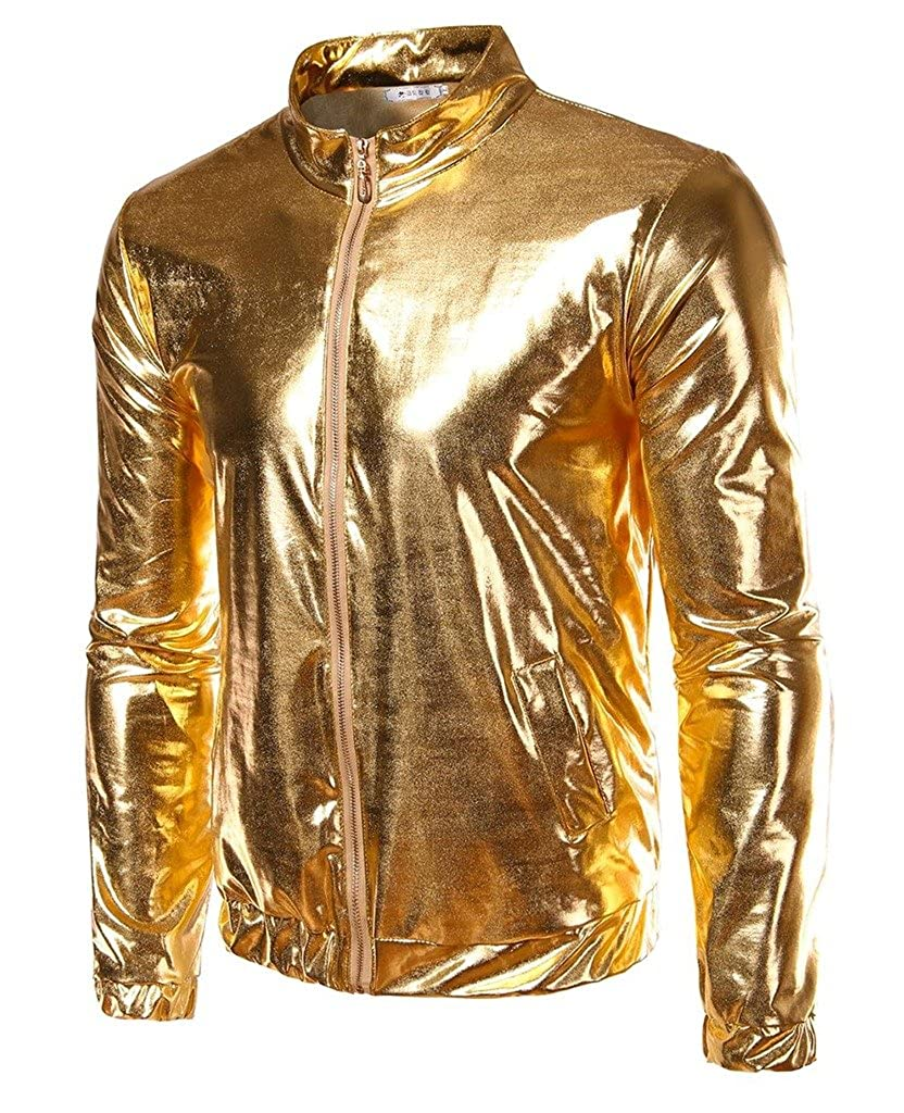 CIC Collection Mens Metallic Gold Front-Zip Jacket