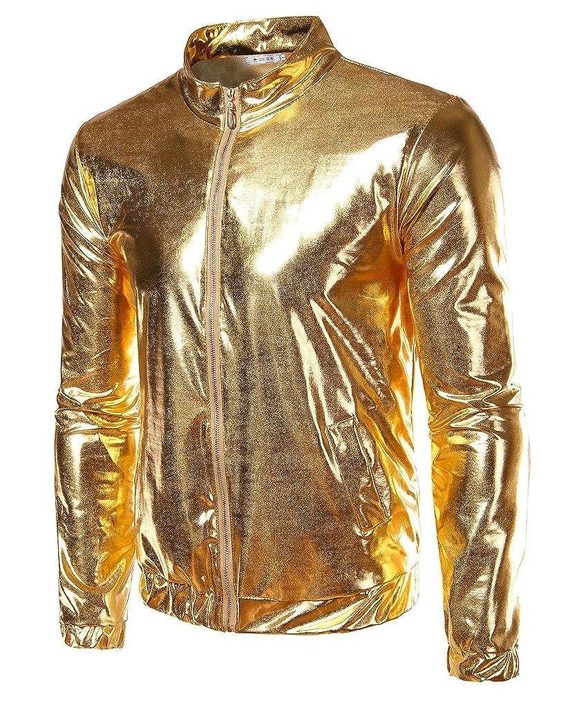 CIC Collection Mens Metallic Gold Front-Zip Jacket