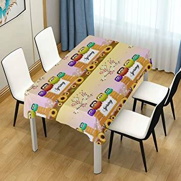Amazoncom Asvip Tablecloth Welcome Spring Cute Cartoon Owls Bench
