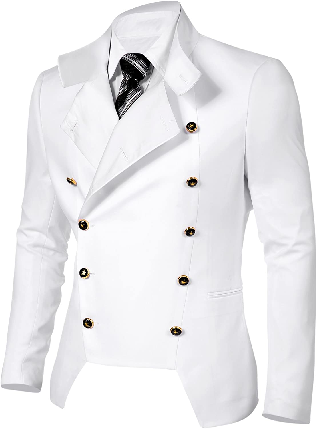 Coofandy Mens Casual Double-Breasted Suit Coat Jacket Business Blazers