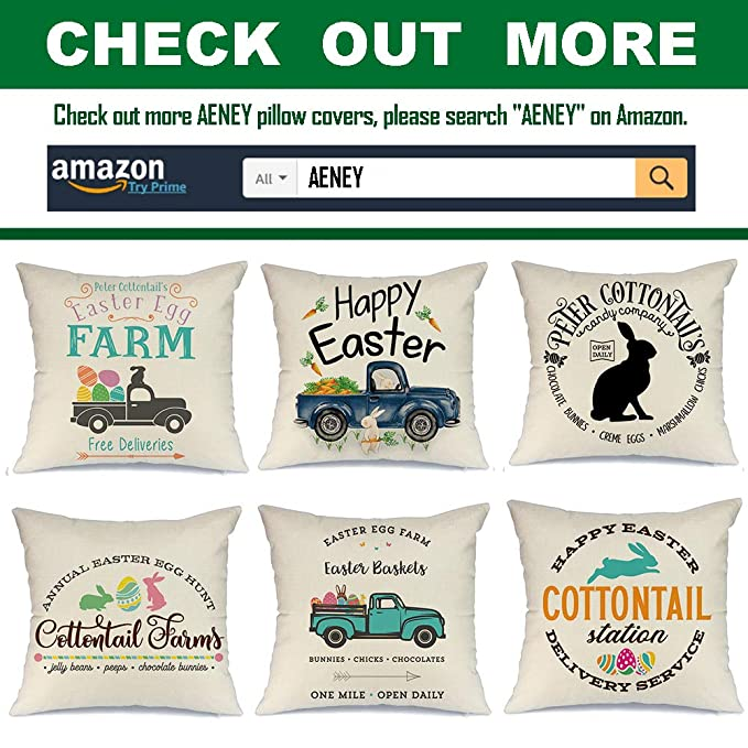AENEY Easter Pillow Cover 18x18 for Easter Decor Easter Decorations Throw Pillows